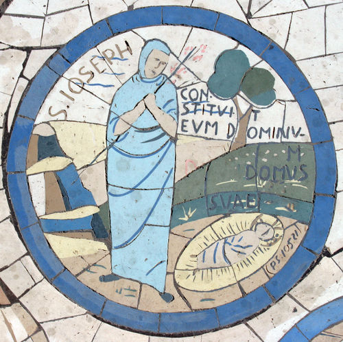Saint Joseph, Mosaic in front of the church on the Mount of Beatitudes, Israel Beatitudes Belief Biblical  Christianity Church Galilee Historical Holy Israel Jesus Joseph Middle East Mosaic Mount Religion Religious  Saint Sermon Shrine Spiritual Stone