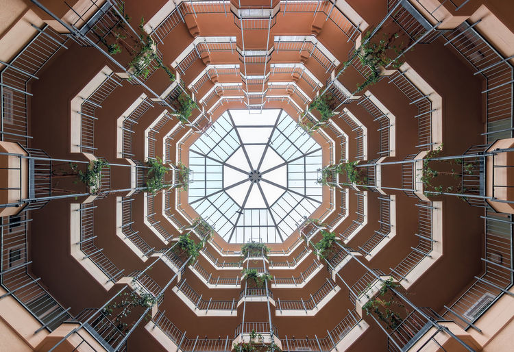 Courtyard in Berlin Looking Up Symmetry Pattern Ceiling Concentric Architecture Built Structure Close-up Hexagon Architectural Design Architecture And Art Architectural Feature Architectural Detail Geometric Shape LINE Stained Glass Cupola Repetition