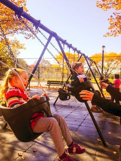 Brooklyn Kids Playground Fall Blue Sky Goldautumn Happiness Swing Speed High