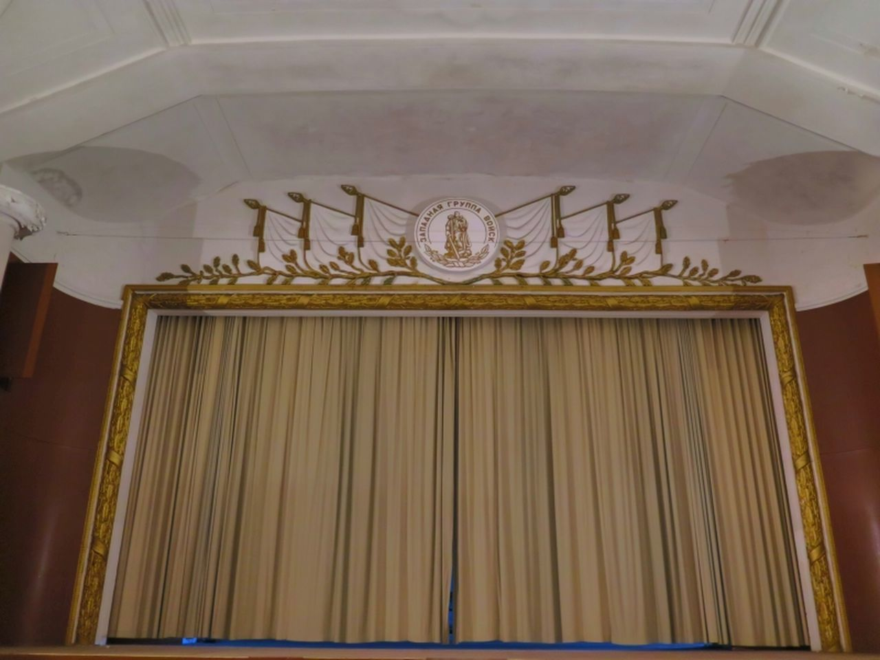 indoors, low angle view, no people, gold colored, architecture, day, close-up