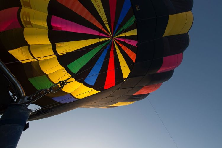 Hot air balloon Multi Colored Hot Air Balloon Low Angle View Outdoors Day Sky No People Close-up Blue