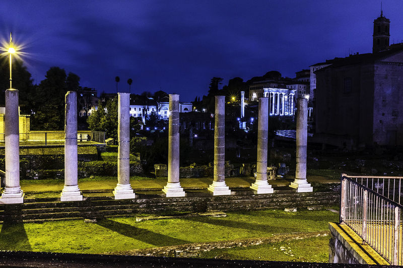 The Roman forum Architecture Building Exterior Built Structure History Illuminated Memorial Night No People Outdoors Sky