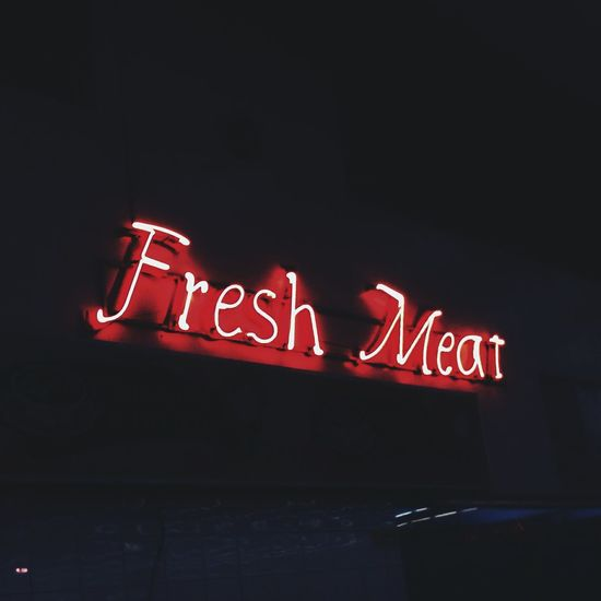 Illuminated Dark Text Neon Neon Lights Neon Sign Grocery Fresh Meat Red Typography Supermarket Meat Shop