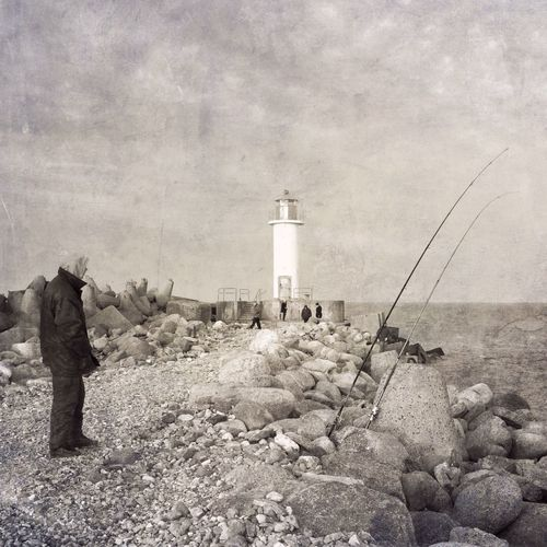 Christmas Day Lighthouse Sea Fishing Vintage