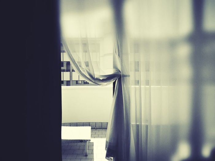 Black & White From My Point Of View Home Inside Out Balcony Black And White Blackandwhite Close-up Curtain Day Decoration Home Interior Indoors  Interior Interior Design No People Open Open Door Selective Focus Still Life Ventilate Vintage Window