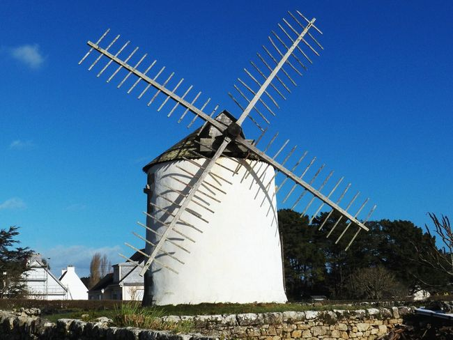 Erdeven WINDmill on the main road to the beach Winter-ED in 2017 Traditional Windmill Old Architecture Le Narbon Windmill Mill Agriculture Historic Conservation Morbihan Town Blue Sky Day No People 4x3photography Soft4filter In Erdeven , France