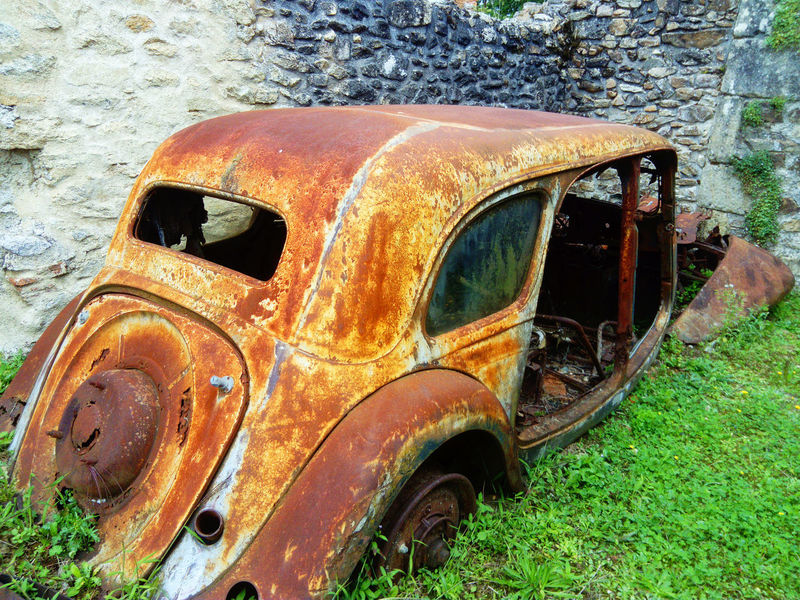Forgotten Oradour Sur Glane Abandoned Bad Condition Car Damaged Decline Deterioration Land Vehicle Metal Mode Of Transportation No People Obsolete Old Outdoors Ruined Rusty