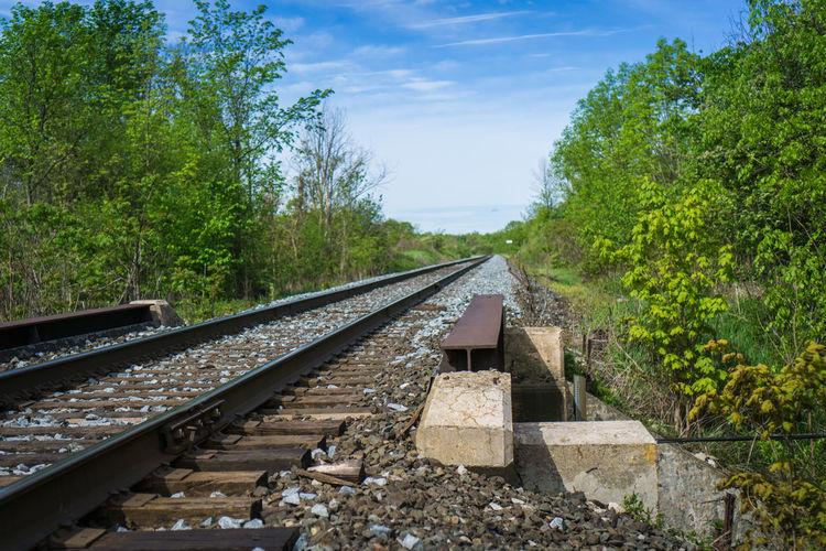 Beauty In Nature Cloud - Sky Day Nature Rail Transportation Railroad Tie Railroad Track Sky Transportation Tree