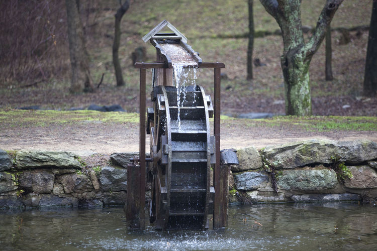 Water wheel in lake