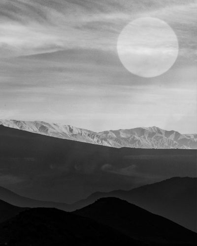 The desert Moon Mountain Nature Beauty In Nature Sky Scenics Tranquil Scene Tranquility Outdoors Mountain Range No People Landscape Day Astronomy Double Exposure Black And White Desert