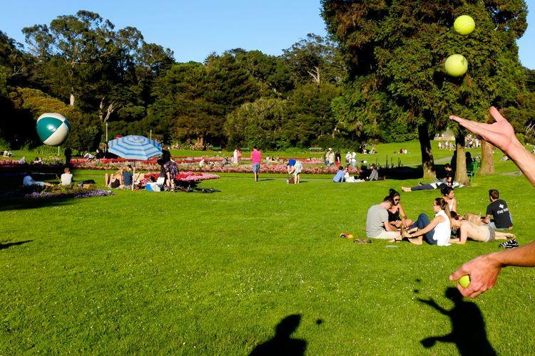 People on grassy field in park