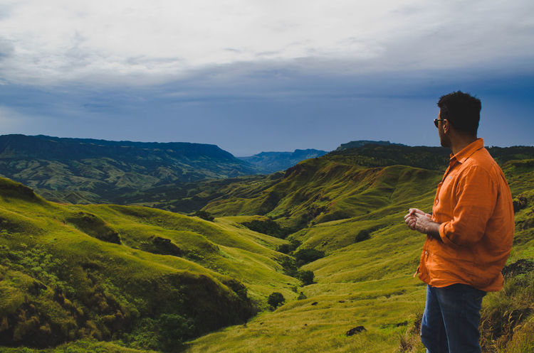 The grass is greener on the other side Adventure Beauty In Nature Casual Clothing Fiji Green Green Color Hiking Landscape Mountain Mountain Range Nature Nausori Highlands One Person Outdoors Real People Scenics Side View Sky Standing Travel Destinations Young Adult The Great Outdoors - 2017 EyeEm Awards Place Of Heart Breathing Space