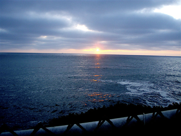 Beauty In Nature Calm Calm Seas Chain Link Fence Cloud Cloud - Sky Horizon Over Water Idyllic Nature No People Ocean Orange Dot Remote Rippled San Diego Scenics Sea Seascape Sky Sunset Tranquil Scene Tranquility Water Weather Westcoast_captures