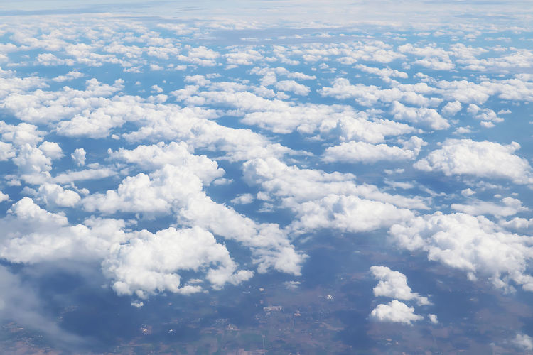 Cloud - Sky Beauty In Nature Sky Scenics - Nature Tranquility Nature Tranquil Scene No People Day White Color Outdoors Cloudscape Aerial View Blue Idyllic Full Frame Environment Sunlight Backgrounds Heaven Above Meteorology