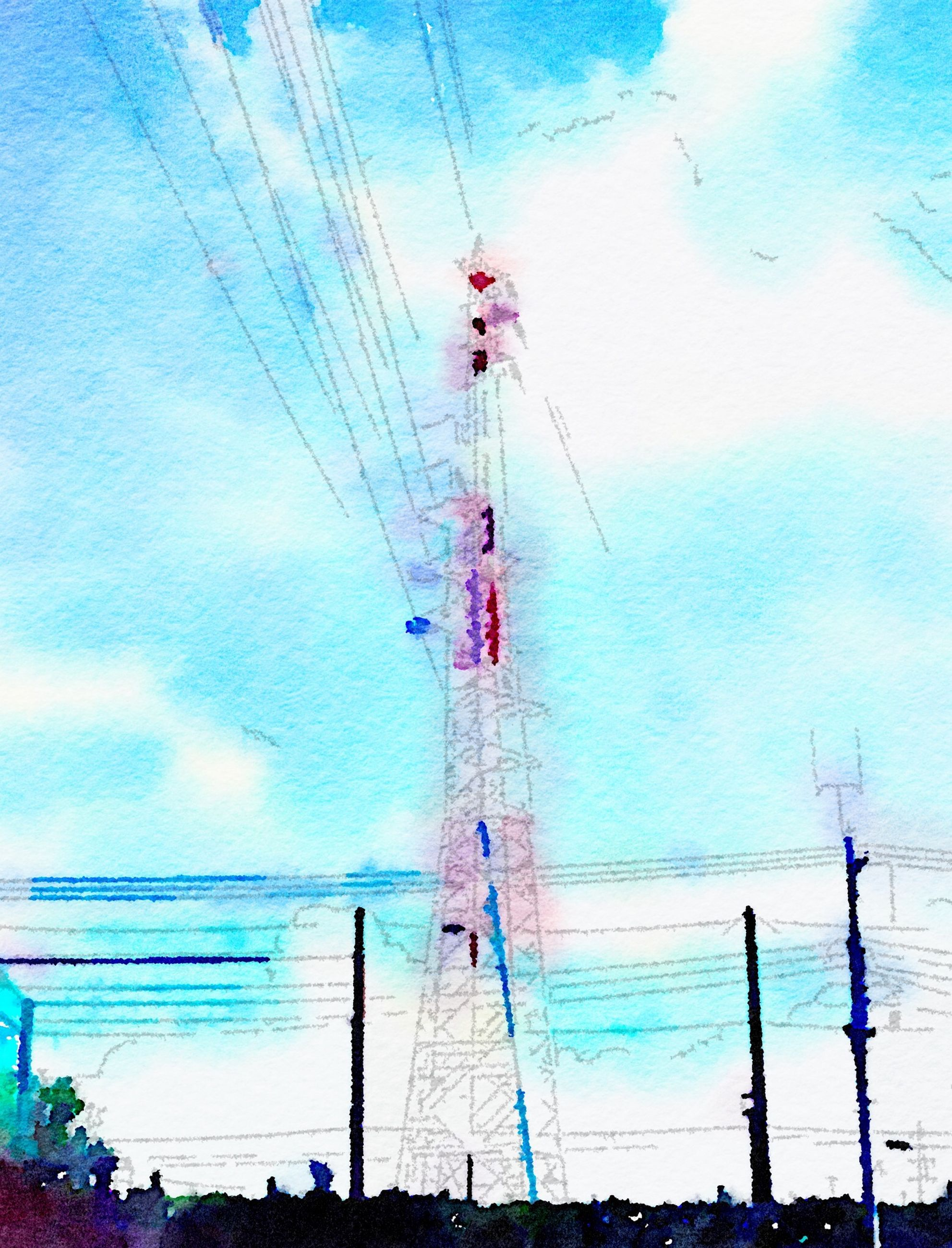 power line, electricity pylon, power supply, electricity, cable, blue, fuel and power generation, connection, technology, low angle view, sky, power cable, built structure, day, pole, outdoors, no people, cloud - sky, cloud, architecture