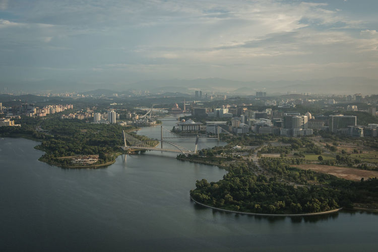 Putrajaya, Malaysia - Jan 14, 2017: Aerial view of Putrajaya, Malaysia and surrounding area of Putrajaya. Photo was taken in the morning from a powered paragliding (ppg) ride Aerial View Architecture Background Building Cloud Landmark Malaysia Morning Light Morning Sky Putrajaya Scenics Sky Tourism Travel View From Above
