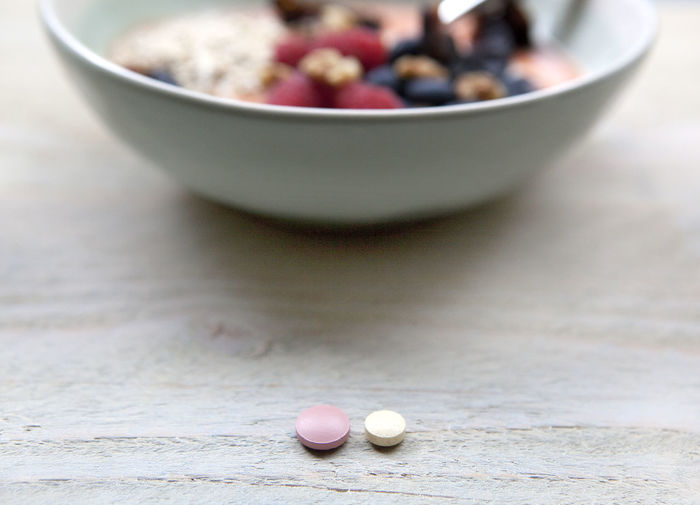Close-up of balls in bowl on table