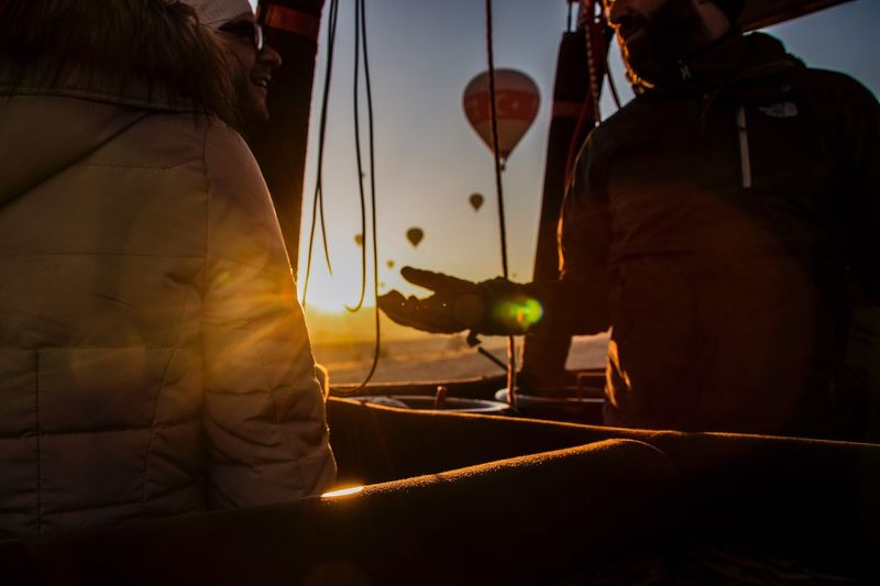 Hot air ballon ride Sunrise Sunset Talking Hot Air Balloon Inside Instructor Turkey ♡ Hot Air Balloon Real People Men Women Leisure Activity Lifestyles Two People Outdoors People Sky