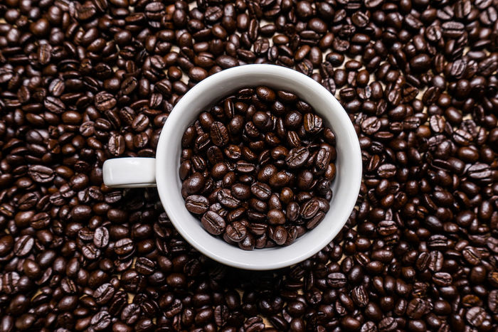 Agriculture Backgrounds Bean Brown Close-up Coffee - Drink Coffee Bean Coffee Crop Dark Directly Above Drink Food Food And Drink Freshness Group Of Objects Mocha No People Raw Coffee Bean Roasted Coffee Bean Scented Seed Studio Shot