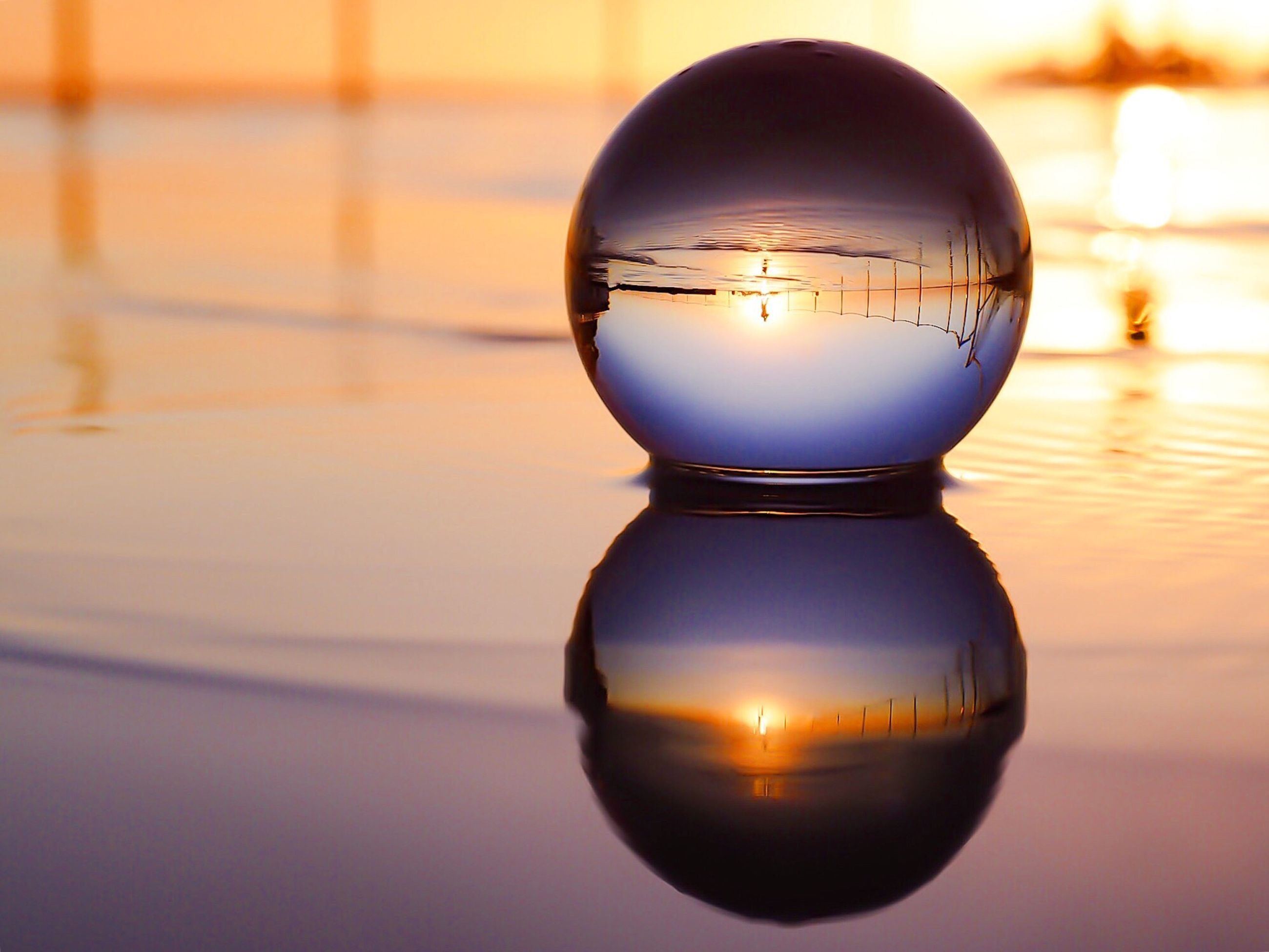 reflection, water, focus on foreground, indoors, close-up, sunset, illuminated, no people, nature, sky, day