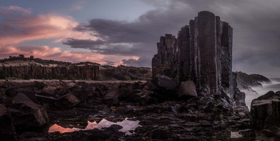 No People Landscape Ocean Basalt Geology Reflection Puddle Water Australia Travel Destinations Pink Sky Rock - Object Cloud - Sky Sky Nature Outdoors Beauty In Nature No People Day
