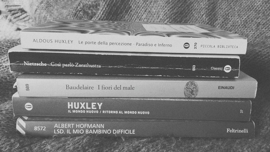 Huxley Nietzsche Hoffman Baudelaire Books Blackandwhite Reading Readers Booklover EyeEm Love Literature Poetry Brave New World Les Fleurs Du Mal LSD Zarathustra The Doors