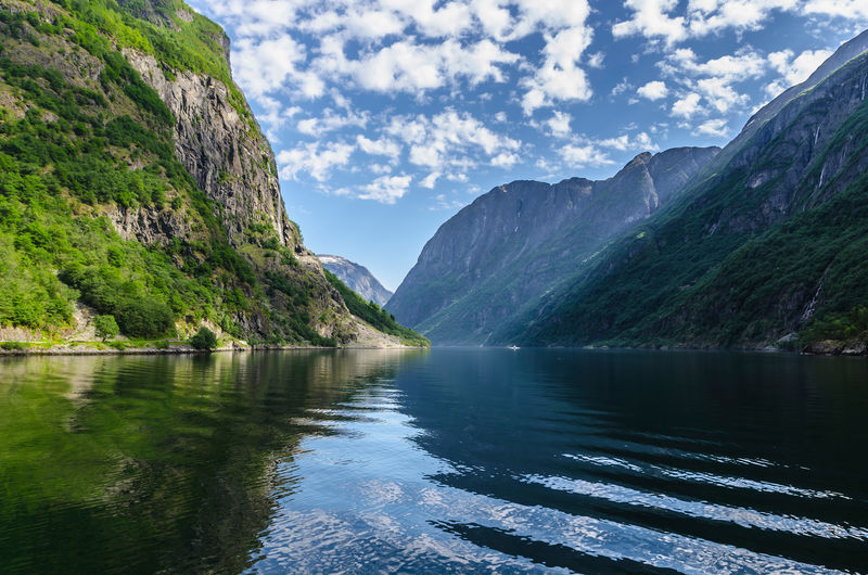 Naeroyfjord Nature Beauty In Nature Cloud - Sky Clouds Day Fjord Fjords Formation Mountain Mountain Range Mountain Ranges Mountains Nature No People Non-urban Scene Norwegian Outdoors Scenics - Nature Sky Water Waterfall