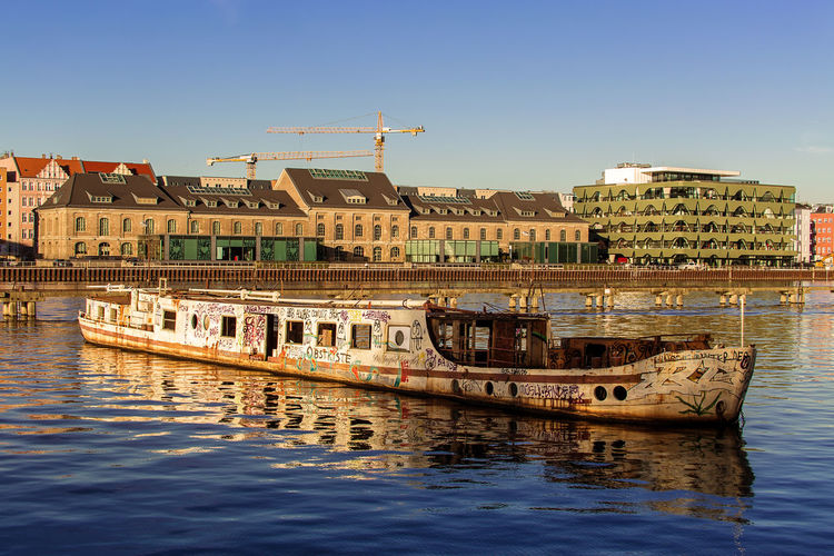 Ingrid Wengler Architecture Berlin Building Exterior Built Structure Clear Sky Day Germany GERMANY🇩🇪DEUTSCHERLAND@ Mode Of Transport Ms Ingrid Wengler Nature Nautical Vessel No People Outdoors Reflection Shipwreck Sky Transportation Treptow Water Water Reflections Waterfront