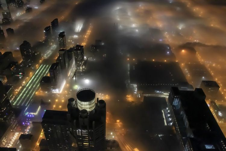 Foggy Chicago Night Illuminated Building Exterior City Architecture Cityscape Built Structure Cloud - Sky No People Sky Building High Angle View Modern Outdoors Skyscraper Aerial View City Life Office Building Exterior Nightlife Chicago Architecture Urban Urban Skyline City Cityscape