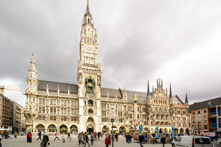 Marienplatz (Mary's Square, Our Lady's Square) is the town center square (since 1158) in Munich, Germany. In the background: New Town Hall Architecture Building Exterior City Clock Face Clock Tower Cloud - Sky Cultures Day History Large Group Of People Marienplatz Munich München New City Hall New Town Hall Travel Travel Destinations