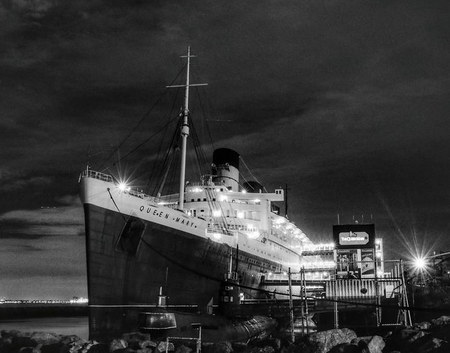 HMS Queen Mary Black And White Queen Mary Nautical Vessel Night From My Point Of View California Love Miles Away Scenics Travel Destinations Nightlife Historical Landmarks Bnw ForTheLoveOfPhotography Black&white Black And White Photography Queenmary