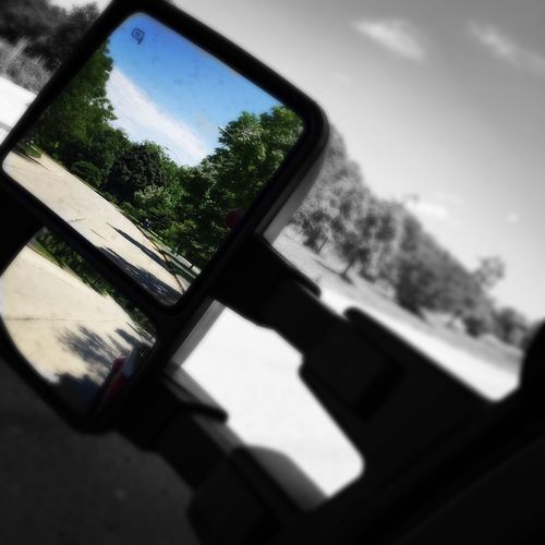 Rear View Rear View Mirror Truck Mirror Trees Green Green Green!  Emeyebestshot Eye4photography  Showcase: November EyeEm Best Edits Black And White/color Blackandwhite Peace No One Near TreePorn Tree_collection  Tree Treescollection Blurry Blurred Blurred On Purpose Focus Focus On Mirro Be Different No Edit No Fun Automotive Photography