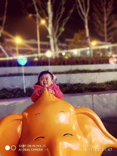 my baby Portrait Child Cold Temperature Smiling Winter Warm Clothing Illuminated Snow Happiness Tree First Eyeem Photo