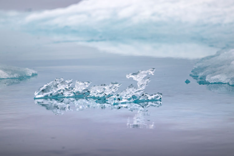 Natural crystal ice shapes on peel sound, prince of wales island at the northwest passage in canada