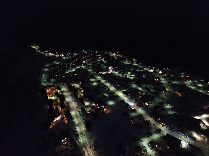 Trying out my drone at night. Drone  Dronephotography Drone Photography DJI Mavic Pro Droneshot The Real Greenland This Is Greenland Greenland Ilulissat My Town Dji Mavic Pro Night Illuminated City Street Lights Streets High Angle View Outdoors