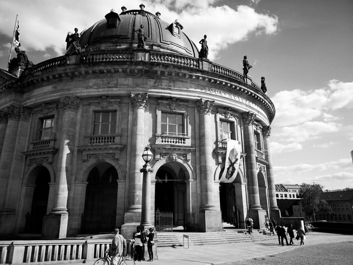 Bode Museum Bnw Berlin Berlin Mitte Urban Berlin Photography Blackandwhite Black And White Black & White Monochrome Museum Bode Museum Shape Streetphotography Day Sunlight Clouds And Sky Reflection Shadow City Statue Sculpture Architectural Column History Façade Sky Architecture Building Exterior Arch Historic Art Museum