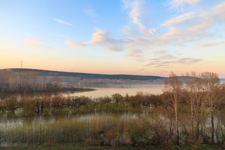 River tom in Kemerovo city in spring Sky Tranquil Scene Cloud - Sky Tranquility Water No People Sunset Non-urban Scene Landscape Environment Outdoors River River View Riverscape Spring Evening Evening Sky
