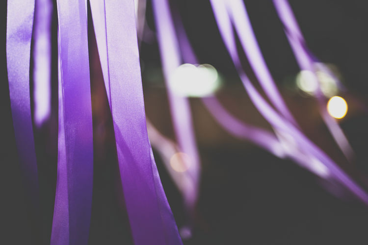 Abstract Blowing Blown Close-up Purple Purple Color Streamers Strings Wind