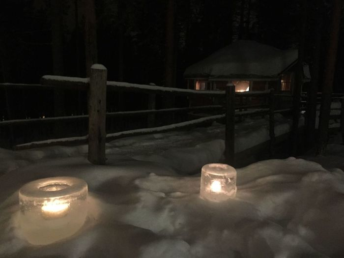 Self-made ice lamps Burning Candle Close-up Flame Glowing Ice Lamp Illuminated Night No People Tea Light