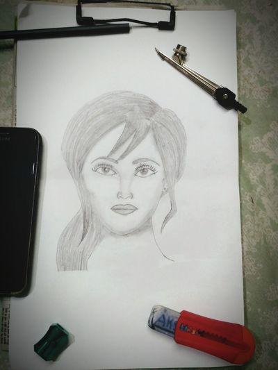 """Imagination"" Pencil Drawing Timepaas Art Art And Craft Paper Female Likeness Human Representation Male Likeness Doll Angel Carving - Craft Product"