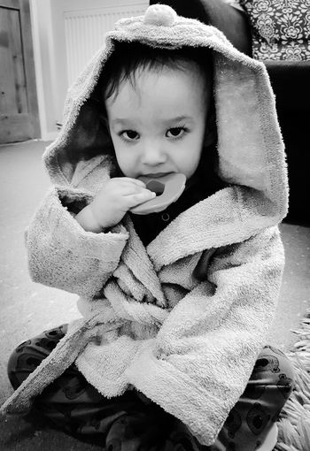 Baby Babies Only Childhood Babyhood Toddler  Indoors  People Cute One Person Portrait Day Sitting Warm Clothing Close-up Dressing Gown