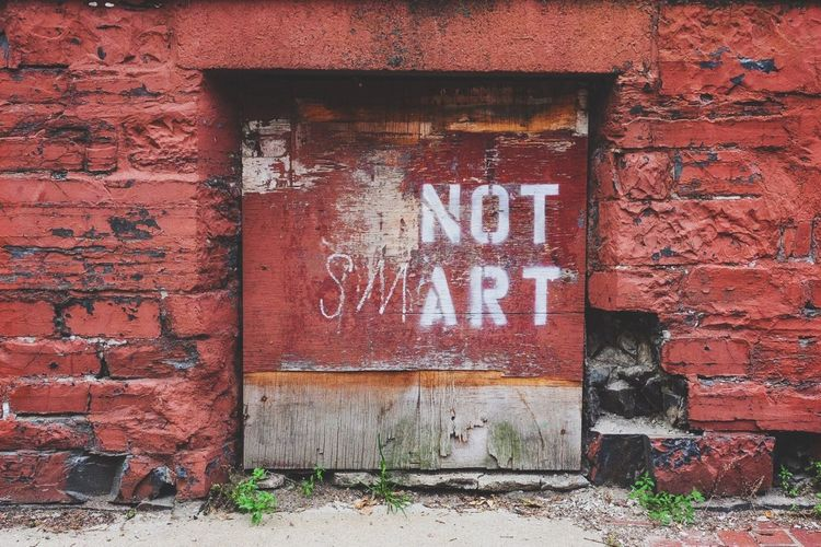 Abandoned Art Art And Craft Bad Condition Closed Creativity Damaged Day Deterioration Door Geometry Graffiti No People Obsolete Old Ruined Text Wall Wall - Building Feature Western Script
