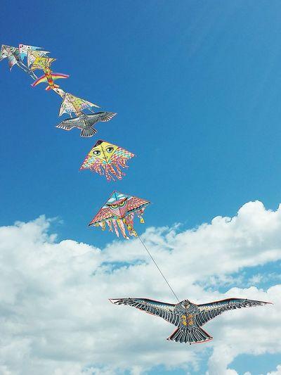 Cloud - Sky Teamwork Kite, Flying Lined Up Lined Kite
