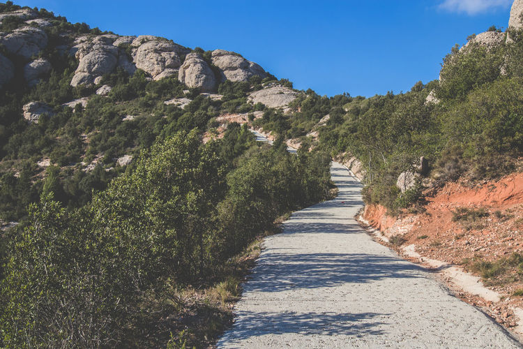 Scenic view of narrow paved road in natural landscape