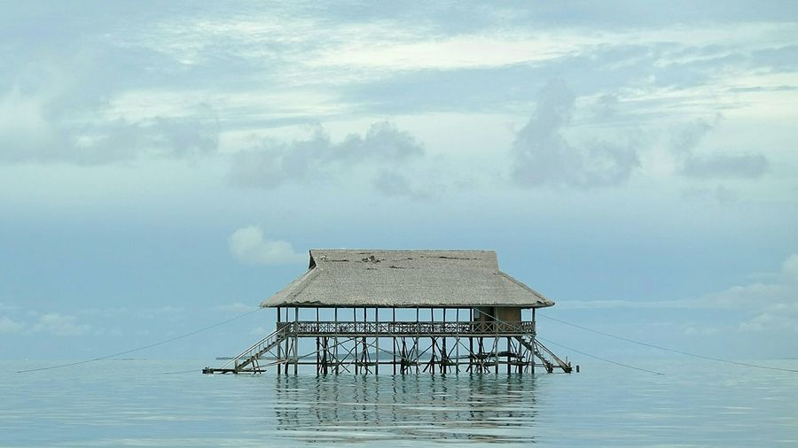 Built Structure Architecture Water Building Exterior No People Hut Bungalow Over Water Over Water Villa Platform Ocean Sea Calm Water Been There.