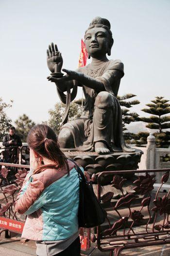 Big Buddha Buddhism Day Hong Kong HongKong Human Representation Outdoors Place Of Worship Sculpture Spirituality Statue Travel Destinations Travelling