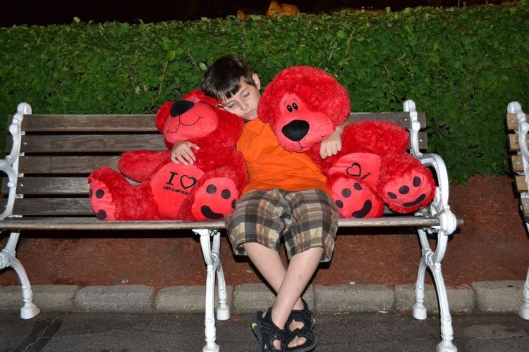Full Length Of Boy Sleeping With Red Stuffed Toys On Bench At Night