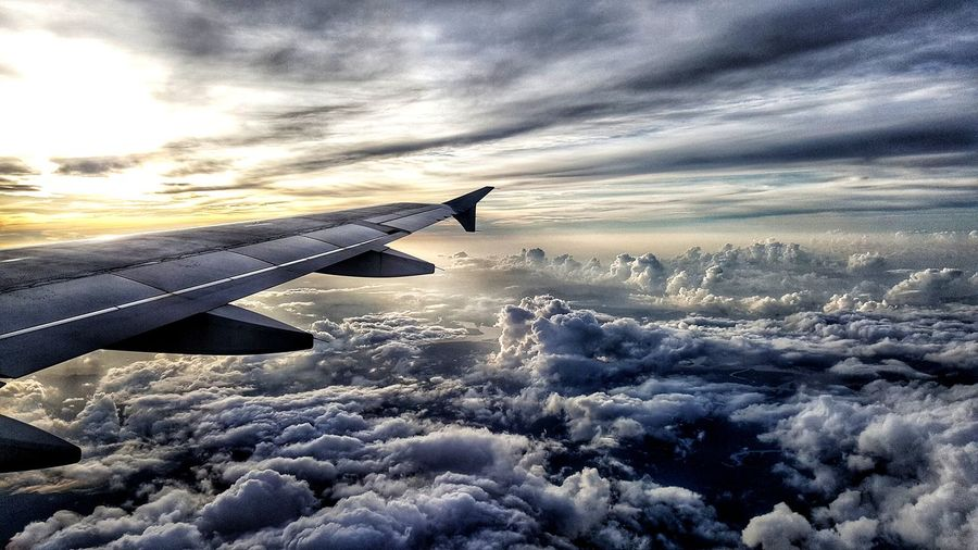 Thailand Flight Airplane Wing Airplane Flying Cold Temperature Sunset Winter Snow Aerial View Air Vehicle Aircraft Wing Aeroplane Trail Aircraft Airways Sky Only Cloudscape Dramatic Sky Flight Cloud Rays Heaven Cumulus White