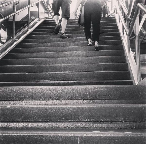Stairs At Railwaystation Walking Up The Stairs Blackandwhite Black&white Blackandwhite Photography Streetphotography Railroad Station Historical Building City Life Fresh On Eyeem  Canon EOS 1300D On The Way People Together
