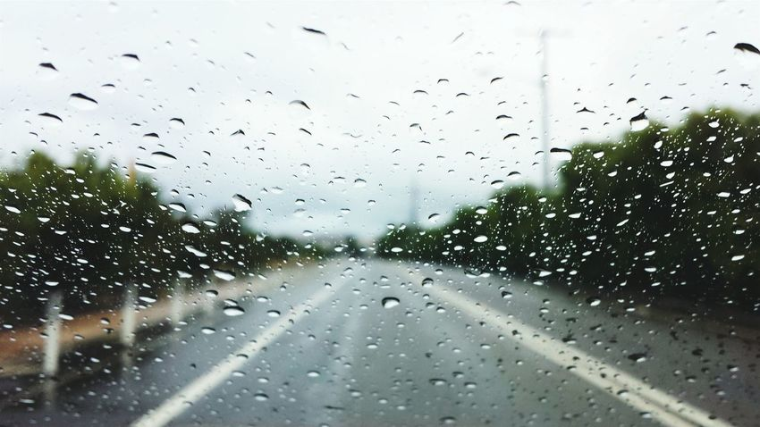 Learn & Shoot: Balancing Elements Raindrops Road Rain No People Raining Again Rainy Days From My Point Of View Samsung Galaxy S4